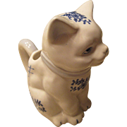 Vintage Blue and White Cat Creamer Excellent Condition