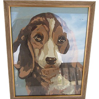 1950s Paint by Number Framed Dog Painting