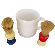 Hazel Atlas Shaving Mug, Peerless Brush & Ever-Ready Brush