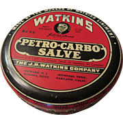 Watkins Petro-Carbo-Salve 1930s  One Large Tin