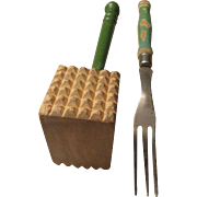 Vintage Meat Mallet and Long Fork Green Handle Tools 1950's