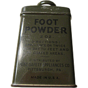 Foot Powder Mine Safety Appliance Co. Pittsburgh, P.A. U.S.A.