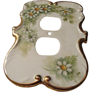 Porcelain Switch Plate Daisy Design and Gold Trim