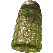 Vintage Green Glass Block Salt Shaker