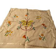 Vintage Pillow Sham Hand Embroidery Warm Colors