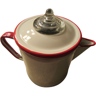 Vintage White and Red Enamel Coffee Pot Percolator 4 Cups
