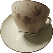 Noritake Harwood Pattern Cup and Saucer Platinum Rim 1960s