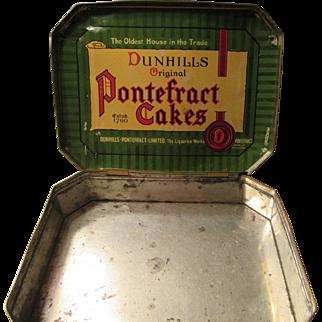Vintage Dunhills Original Pontefract Cakes Tin from England