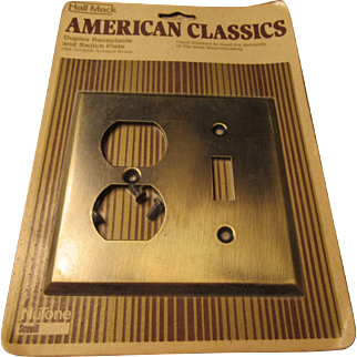 Brass Duplex Receptacle and Switch Plate 1960s Hall Mack