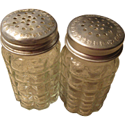 Vintage Set of Salt and Pepper Shakers Waffle Block clear Glass