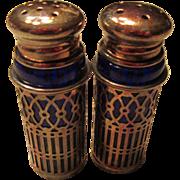 Retro Silver Plate Cobalt Blue Raimond Japan Shakers