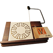 Mid Century Vermillion Walnut Cheese Board Retro Design