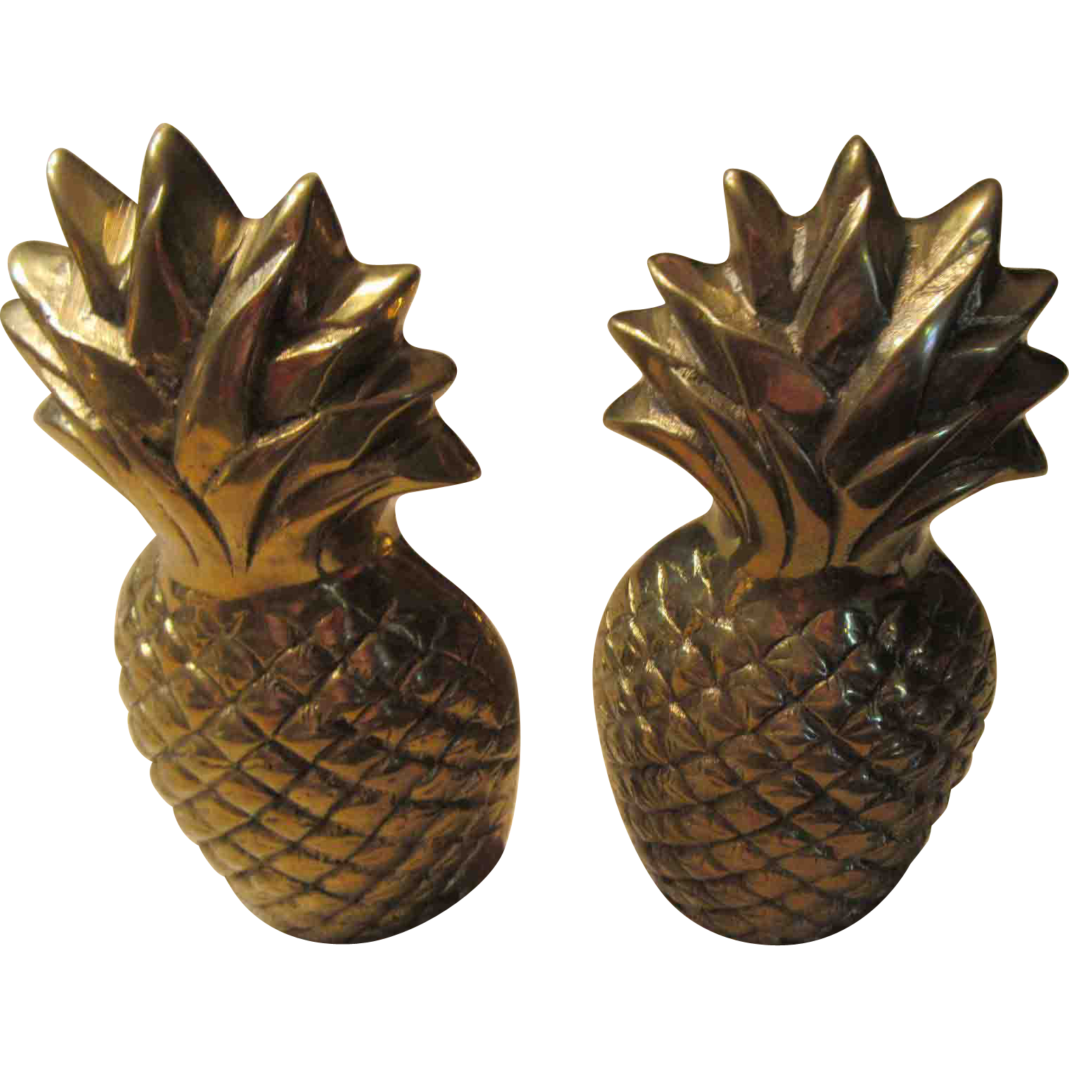 Solid Brass Pineapple Bookends Made in Korea