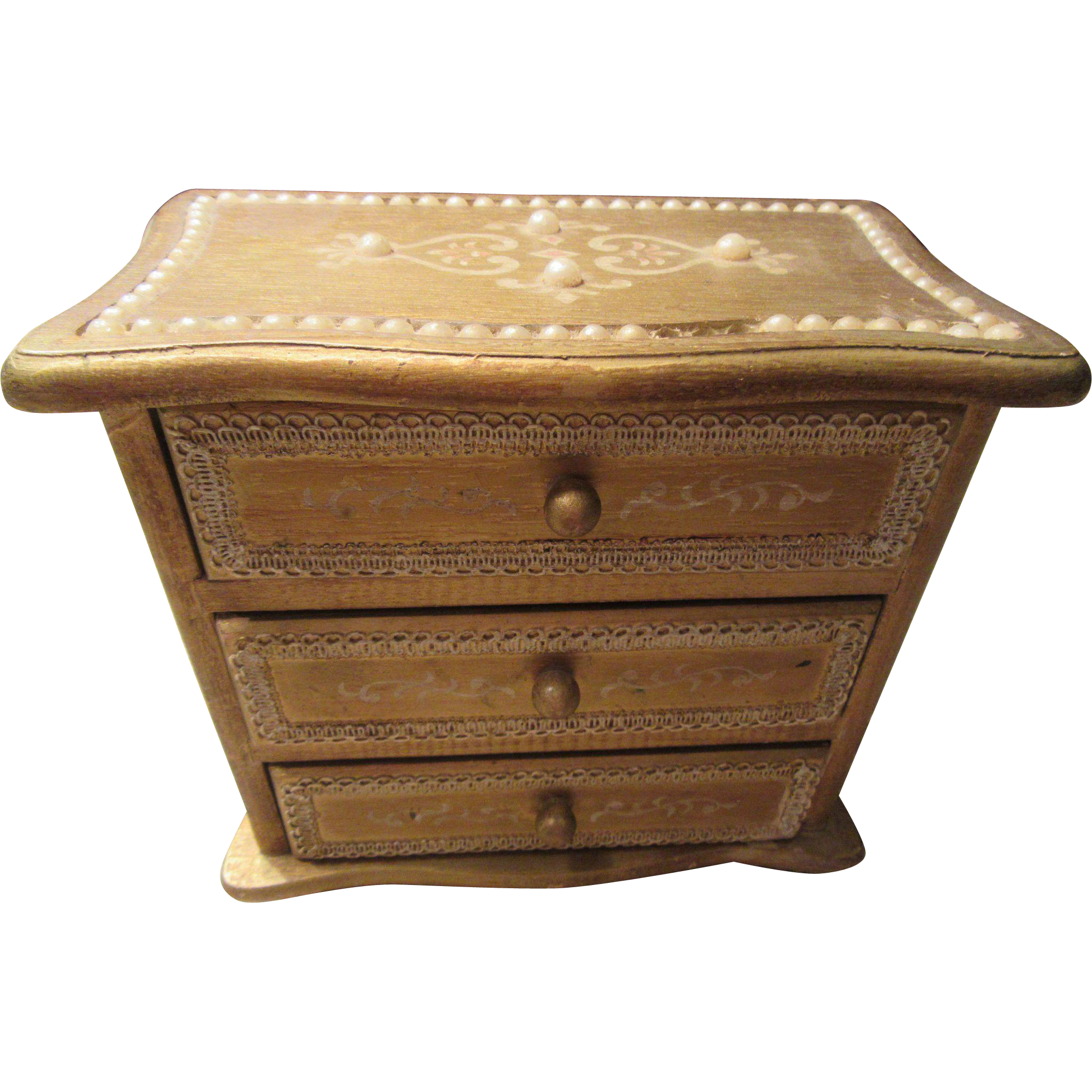 1950s Norleans Gold Gilt Music Box with Three Lined Drawers