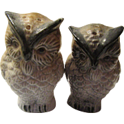 Vintage Owl Salt and Pepper Set Shades of Grey and Brown
