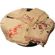Five Fancy Handkerchiefs in a Vintage Floral Tin