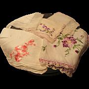 Five Fancy Handkerchiefs in a Vintage Floral Tin