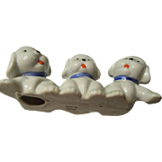 MidCentury Trio of Puppies Japanese Paper Weight