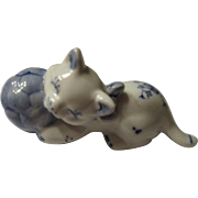 MidCentury Japanese Cat with Blue Ball Paper Weight
