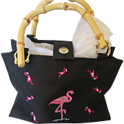 1980s Tiannl Flamingo Purse with Bamboo Handles