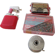 Tiny Sewing Machine, Kessler Whiskey Gift, Little Pal Tape Measurer & Trupoint