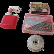 Tiny Sewing Machine, Kessler Whiskey Gift, Little Pal Tape Measurer & Trupoint