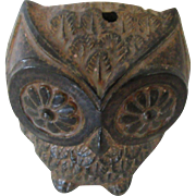 Vintage Clay Owl Incense Burner or Votive Candle Holder