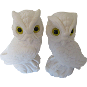 MidCentury Detailed Ceramic White Owl Pair