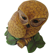 Large Resin Owl Sitting on a Branch