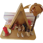 Modern Nativity Set Wooden Figures Extra Candles 1970s or 1980s