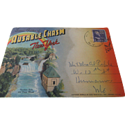 """Scenic Folder of Ausable Chasm New York"" 1953 Eight Joined Post Cards"