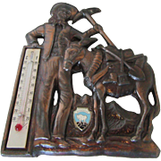 1950s Montana Metal Plaque with Thermometer and Prospector & Mule