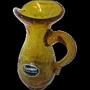 Kanawha Crackle Glass Jug Hand Crafted Dunbar, W.VA.