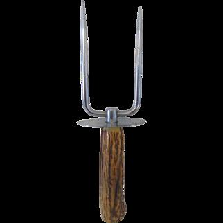 Large Stainless Steel Carving Fork Deer Horn Handle