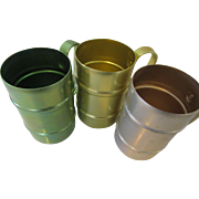 Retro Emson-Ware Aluminum Mugs Set of Three with Handles