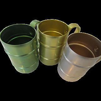Retro Emson-Ware Aluminum Mugs Set of Three with Handles