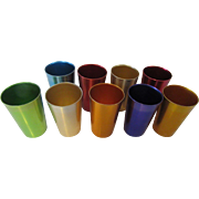 Retro Aluminum Tumblers Set of Nine Colorful Tumblers