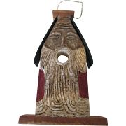 German Holiday Bird House Decoration Wood & Ceramic