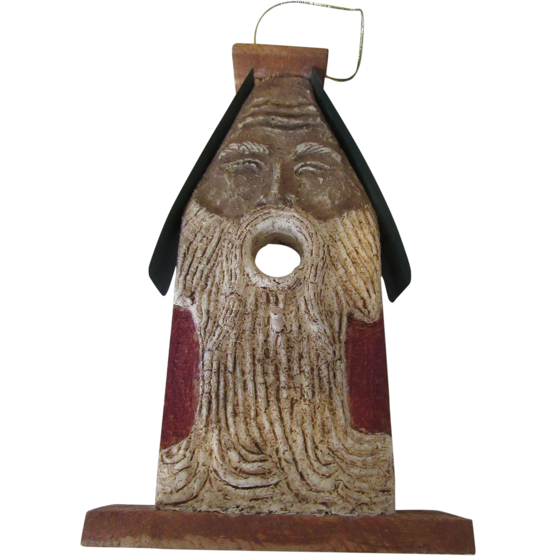 German Holiday Bird House Decoration Wood & Ceramic