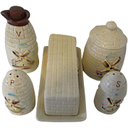 Vintage Windmill Pattern Set: Salt, Pepper, Butter Dish, Sugar and Vinegar