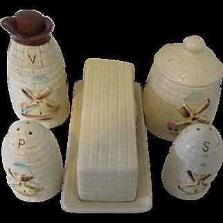 Vintage Windmill Pattern Set: Salt, Pepper, Butter Dish, Sugar and Vinegar