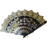 Chinese Gold and Black Fan with White Blossom Trim H K
