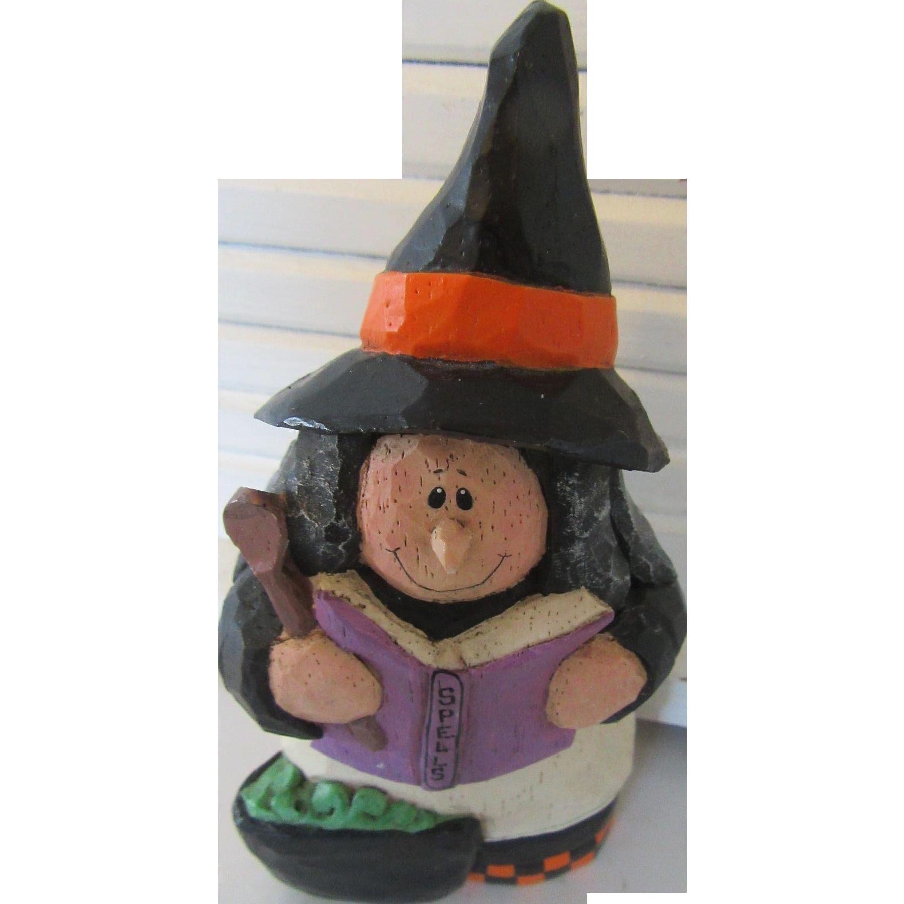 Eddie Walker Vintage Halloween Witch Carved Wood