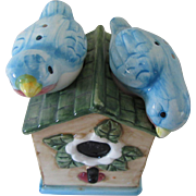 Vintage Colorful Bird Salt and Pepper Shakers in a Bird House