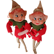 Christmas Elves 1960s Bendable Arms Tree Ornaments