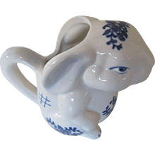 Vintage Rabbit Creamer with Blue Floral Trim