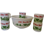 Hazel Atlas Christmas Egg Nog Set  1930s