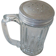 Vintage Ribbed Glass Shaker with Handle and Aluminum Lid : Seasonings 1940s