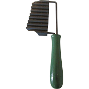 1940s Vintage Pastry Tool or Cheese Slicer with Wooden Green Handle-Rare