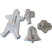 Five Vintage Cookie Cutters 1950: Santa, Bell, Scout and Gingerbread Boy for Decorating